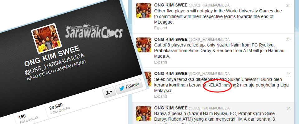 OKS had purposedly written K'kelab' (Club) in capital letters, speculating he may be annoyed with the decision.